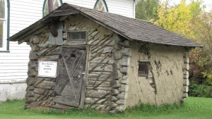 Bert Martin's Cabin (Compare the Marr Residence with this small mud-plastered pioneer hut of Bert Martin's on display at the museum in Cut Knife, Saskatchewan.)