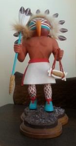 Colin Ward's carving of a New Mexico Native American in traditional attire.