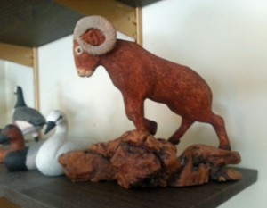 "Ram by Colin Ward. ""This one I consider to be real art because I had that piece of cactus root that grew in the desert. I had to carve the animal to fit the wood."""