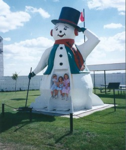 Kenaston's snowman has a convenient niche where people can sit for photos.