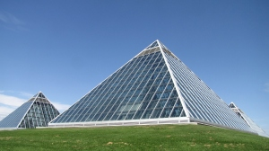 The Muttart Conservatory's pyramids are an Edmonton landmark.
