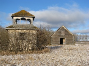 The Kulikiw Church & Bell Tower near Invermay, Saskatchewan