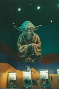 The wise Yoda watching over the theatre-goers at West Edmonton Mall.